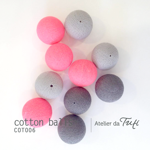 Cotton balls tons cinza & rosa