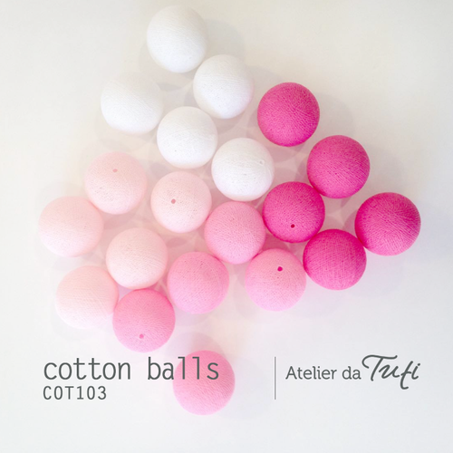 Cotton balls tons rosa & branco