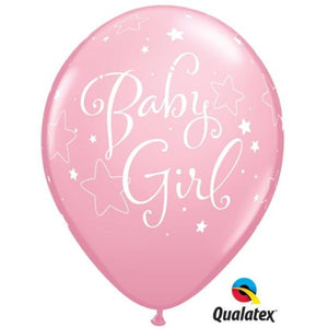 "11"" Baby Girl Stars Latex Balloons (6) - Party Zone USA"