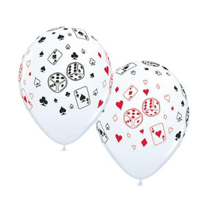"11"" Cards & Dice Balloons (10) - Party Zone USA"