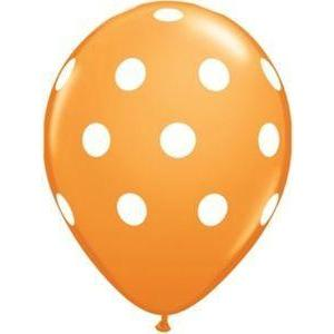 "16"" Orange Polka Dot Balloons (5) - Party Zone USA"