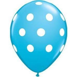 "16"" Robin's Egg Blue Polka Dot Balloons (5) - Party Zone USA"