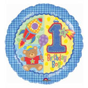 "18"" Hugs and Stitches Boy 1st Birthday Balloon - Party Zone USA"