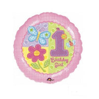 "18"" Hugs and Stitches Girl 1st Birthday Balloon - Party Zone USA"