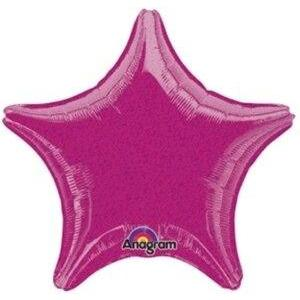 "19"" Fuchsia Dazzler Star Balloon - Party Zone USA"