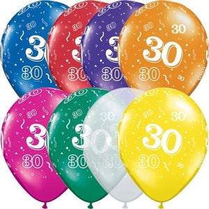 30th Birthday Balloons (24) - Party Zone USA