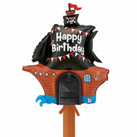 "34"" Pirate Ship Foil Mailbox Happy Birthday Balloon - Party Zone USA"