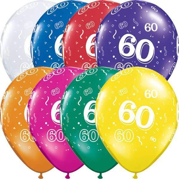 60th Birthday Balloons (25) - Party Zone USA