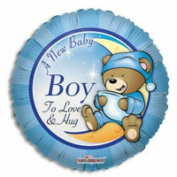 A New Baby Boy Teddy Bear Blue Foil Balloon - Party Zone USA