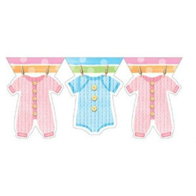 Baby Clothes Shower Party Flag Banner - Party Zone USA