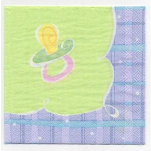 Baby Plaid Beverage Napkins (16) - Party Zone USA