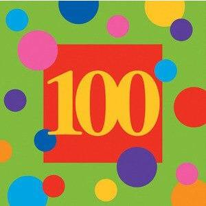 Birthday Stripes Age 100 Lunch Napkins (16) - Party Zone USA