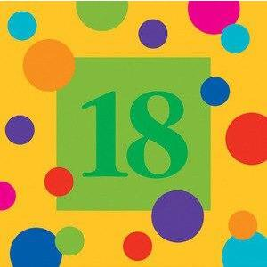 Birthday Stripes Age 18 Lunch Napkins (16) - Party Zone USA