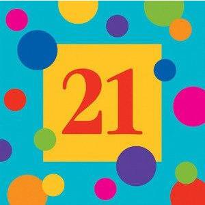 Birthday Stripes Age 21 Lunch Napkins (16) - Party Zone USA