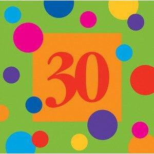 Birthday Stripes Age 30 Beverage Napkins (16) - Party Zone USA
