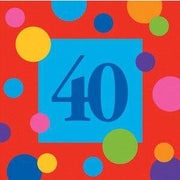 Birthday Stripes Age 40 Lunch Napkins (16) - Party Zone USA