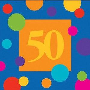 Birthday Stripes Age 50 Lunch Napkins (16) - Party Zone USA