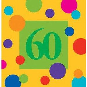 Birthday Stripes Age 60 Lunch Napkins (16) - Party Zone USA