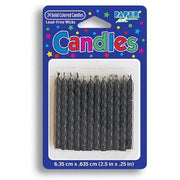 Black Birthday Candles (24) - Party Zone USA