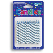 Blue and White Striped Birthday Candles (24) - Party Zone USA