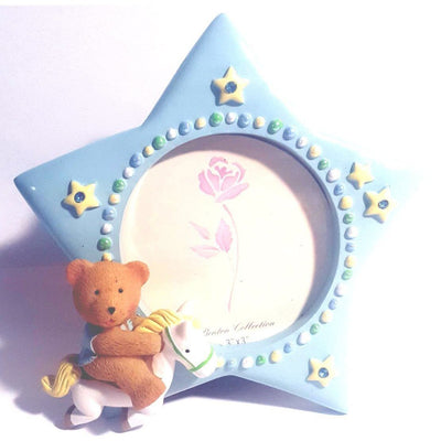 Blue Baby Photo Frame w/ Teddy Bear - Party Zone USA