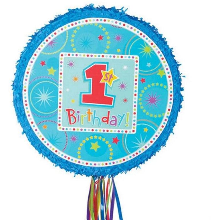 BOYS 1st Birthday Pull String Pinata - Party Zone USA