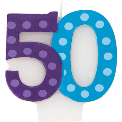 Bright & Bold 50th Birthday Candle - Party Zone USA