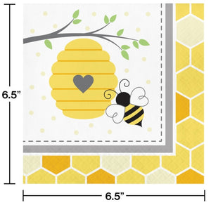 Bumblebee Baby Luncheon Napkins (16) - Party Zone USA