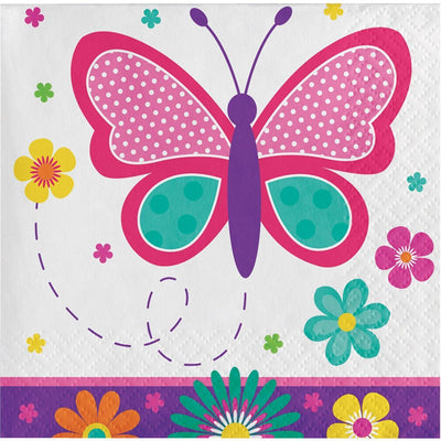 Butterfly Garden Party Beverage Napkins (16) - Party Zone USA