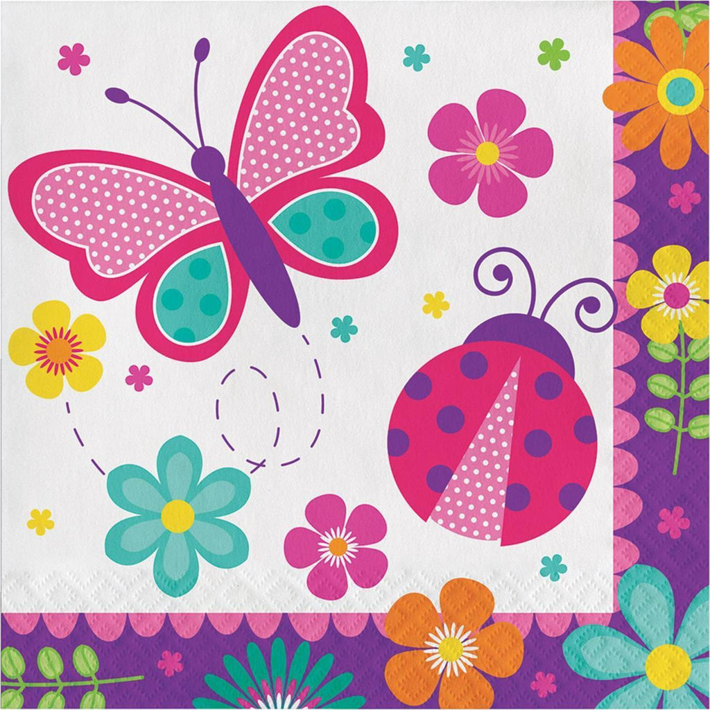 Butterfly Garden Party Lunch Napkins (16) - Party Zone USA
