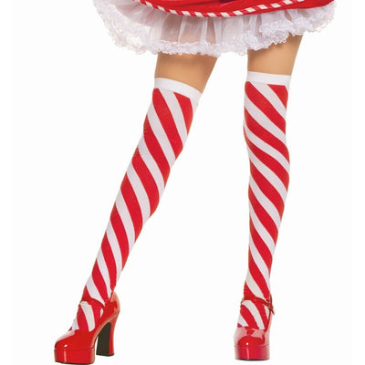 Candy Cane Striped Thigh High Stockings - Party Zone USA