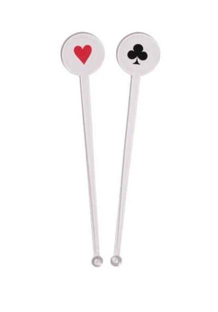 Card Night Casino Drink Stirrers (12) - Party Zone USA