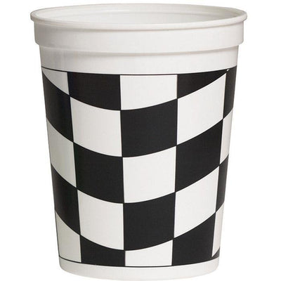 Checkered Flag Plastic 16 oz Cup - Party Zone USA
