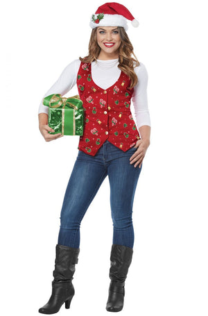 Christmas Holiday Vest with Hat - Adults - Party Zone USA