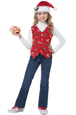 Christmas Holiday Vest with Hat - Childs - Party Zone USA