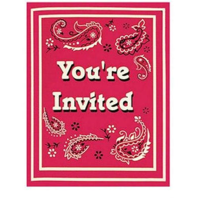 Classic Bandanna Invitations (8) - Party Zone USA