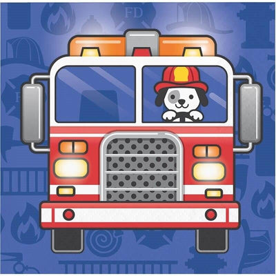 Flaming Fire Truck Beverage Napkins (16) - Party Zone USA