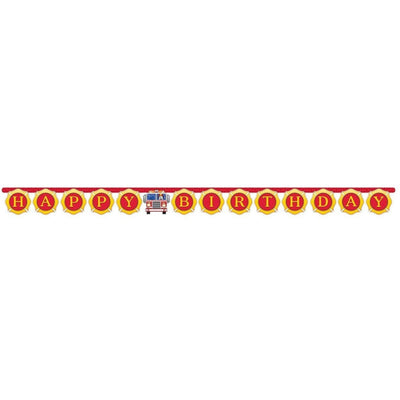 Flaming Fire Truck Happy Birthday Banner - Party Zone USA