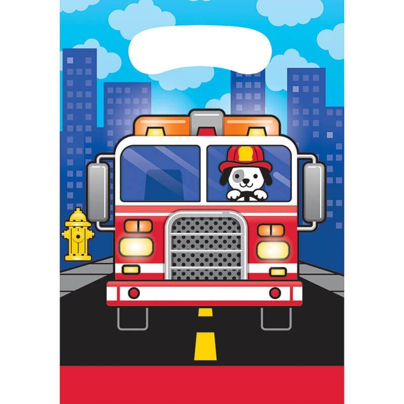 Flaming Fire Truck Loot Bags (8) - Party Zone USA