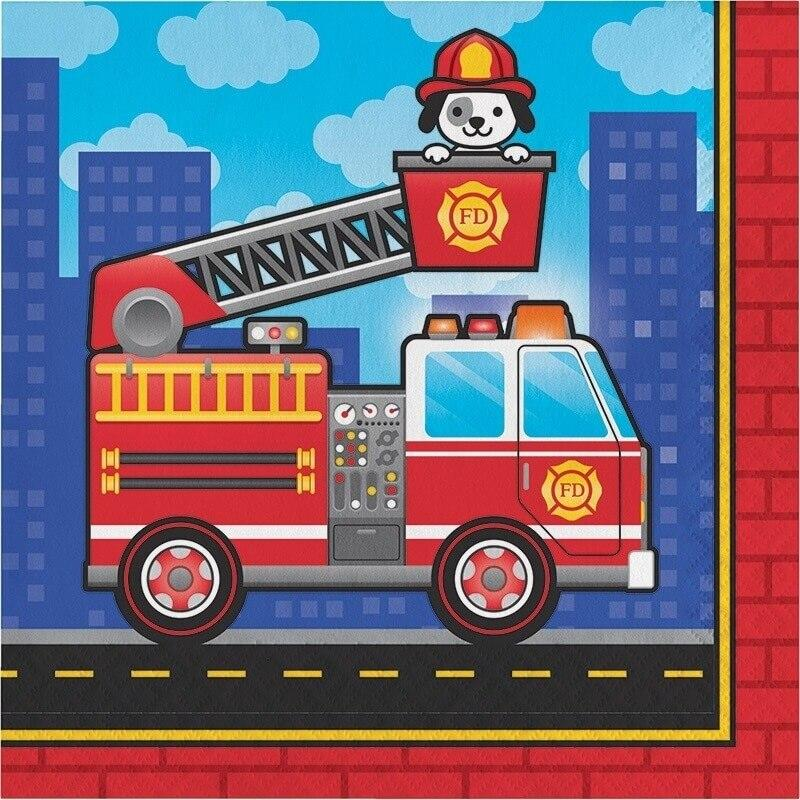 Flaming Fire Truck Lunch Napkins (16) - Party Zone USA