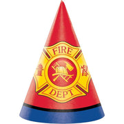 Flaming Fire Truck Party Hats (8) - Party Zone USA
