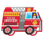 Flaming Fire Truck Party Invitations (8) - Party Zone USA