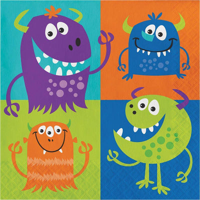 Fun Monsters Lunch Napkins (16) - Party Zone USA