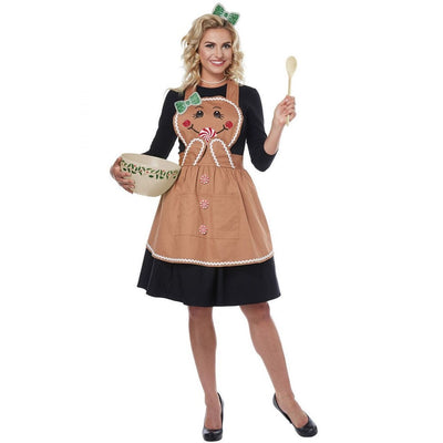 Gingerbread Apron Adult Costume - Women's - Party Zone USA
