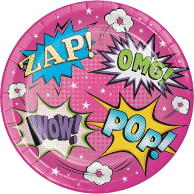 Girl Superhero Dessert Plates (8) - Party Zone USA