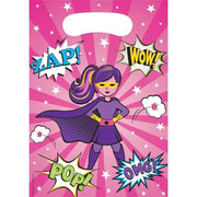 Girl Superhero Loot Bags (8) - Party Zone USA