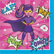Girl Superhero Luncheon Napkins (16) - Party Zone USA