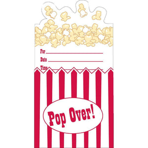 Hollywood Popcorn Themed Party Invitations (8) - Party Zone USA