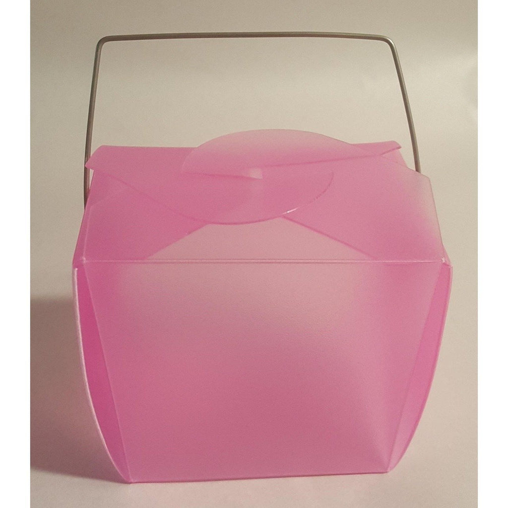 Hot Pink Frosted Take Out Boxes (10) - Party Zone USA