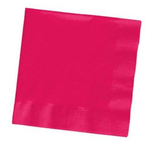 Hot Pink Magenta Beverage Napkins (50) - Party Zone USA